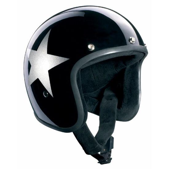 Bandit sisakok - Nyitott sisakok - BlackStar Jet - fekete/ezüst csillag