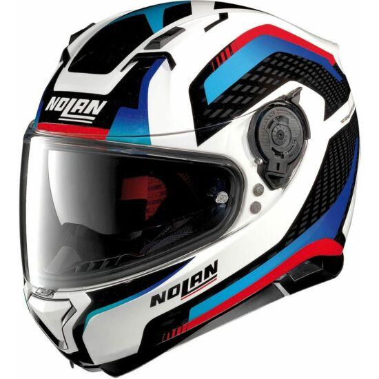 Nolan N87 Arkad - metal white blue-red